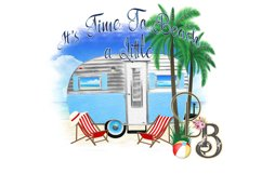 Travel Trailer Camper Beach watercolor PNG Product Image 1