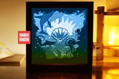 214 Beyond the sea, 3d paper cut lightbox template Product Image 1
