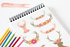 Antlers, deers and flowers Graphics and illustrations, vecto Product Image 4