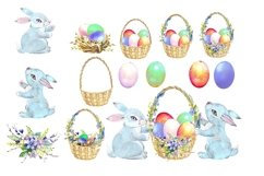 Easter watercolor clipart, easter cute bunny Product Image 2