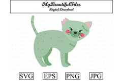 Zombie Cat SVG - Cartoon Zombie Cat SVG, EPS, PNG and JPG Product Image 1