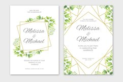 Green leaves wedding invitations set Product Image 5