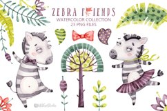 Cute Zebra. Kids horse. Watercolor baby animals clipart Product Image 2