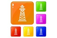 Lighthouse icons set vector color Product Image 1