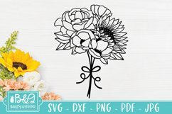 Sunflower and Wildflower SVG Bundle   Floral Line Art Product Image 5