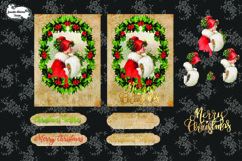 Christmas Holly Girl in Red Christmas Card cutting file Product Image 1