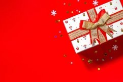 Christmas presents gift red on red background. Product Image 1