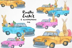 watercolor easter truck png, easter bunny clipart Product Image 1