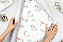 Watercolor Unicorns. Cliparts and Pattern Product Image 3