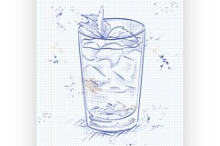 Cocktail Mint julep on a notebook page Product Image 1