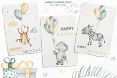 Animals and balloons watercolor Product Image 6