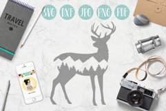 Deer svg, mountain deer clipart, mountain, adventure explore Product Image 1
