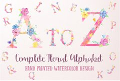 Watercolor floral alphabets, pink floral letters Product Image 1