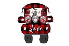 Plaid Gnomes, Valentine Gnomes, Truck, Sublimation Product Image 1