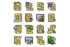 Expense report icons set, outline style Product Image 1