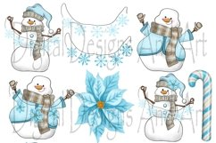 Blue snowman clipart Product Image 5
