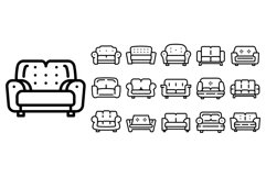 Sofa icons set, outline style Product Image 1