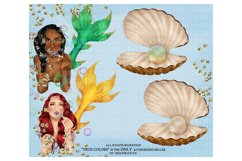 Mermaid ClipArt Afro American Mermaid Clip Art Product Image 6