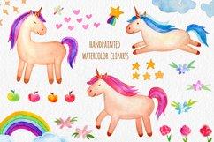 Watercolor Unicorn Set. Seamless Patterns, Clipart Product Image 2