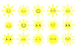 Hand drawn sun. Cute bright suns with funny smiling face, wa Product Image 1