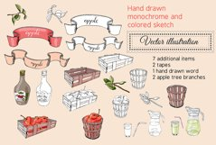 Collection with apple fruits illustration. Hand drawn sketch Product Image 4