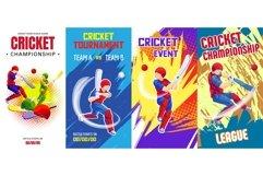 Cricket banner set, cartoon style Product Image 1