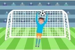 Soccer goalkeeper on stadium concept, flat style. Product Image 1