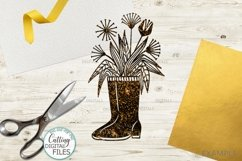 Flowers Wellies Rain boots svg dxf laser paper cut out files Product Image 3