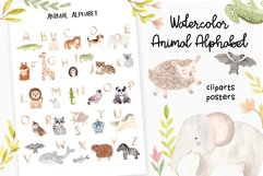 Watercolor Animal Alphabet. Cliparts Poster and Patterns Product Image 1