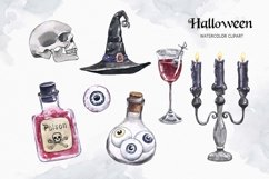 Vintage Halloween clipart Watercolor illustrations set Product Image 5