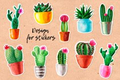 Watercolor Cactus. Cacti Patterns Product Image 3