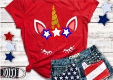 Unicorn svg - 4th of july svg - Star svg - USA svg - Memorial day - Summer svg - Independence day svg - Cut files- SVG - DXF - png - pdf-eps Product Image 1