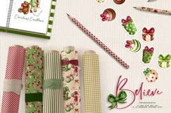 Children Christmas Clipart and Pattern seamless paper tiles. Product Image 4
