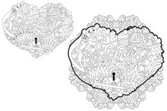 Hearts zentangle for coloring pages Product Image 7