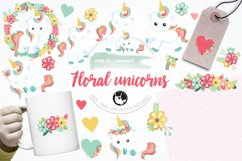 Floral unicorn graphics and illustrations Product Image 1