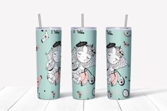 Girl with dog sublimation design. Skinny tumbler png Product Image 4