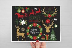 Farmhouse Christmas Clipart, Reindeer Silhouettes, Gold Product Image 2