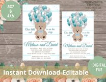 Teddy Bear Baby Shower Invitation, Digital File, Instant Product Image 6