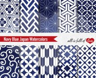Navy Blue Digital Paper Japanese Background Patterns Product Image 2