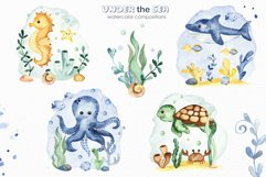 Under the sea. Watercolor clipart, frames, cards, patterns Product Image 5