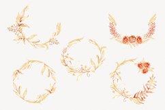 Watercolor Floral Wreaths Clip Art Gold Leaves Autumn Clipar Product Image 3