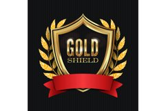 Golden Shield With Laurel Wreath And Red Ribbon. Vector Product Image 1