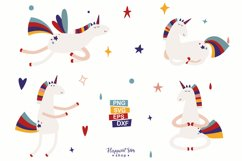 Unicorn and Rainbow Clipart, SVG, PNG, DXF, EPS Product Image 3