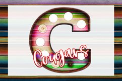 Cougars Sunset Serape Marquee Sublimation PNG Product Image 1