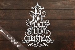 Joy Love Peace Believe Christmas svg dxf pdf cut template Product Image 1