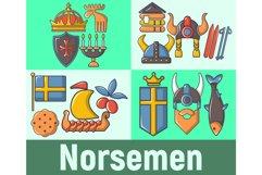 Norsemen concept banner, cartoon style Product Image 1