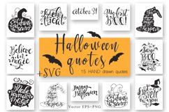 Halloween hand drawn Quotes SVG Cut files Product Image 1