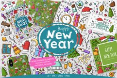 Doodle New Year Big set Vector Clipart Product Image 1