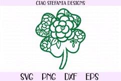 St Patricks Day Floral Four Leaf Clover SVG Cut File Product Image 1