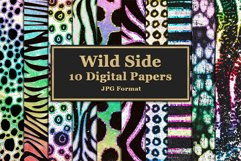 Wild Side Digital Papers with Rainbow Glitter Product Image 1